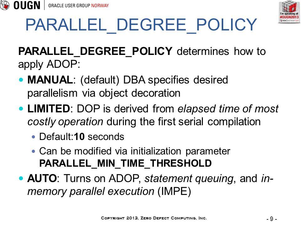- 9 - Copyright 2013, Zero Defect Computing, Inc.