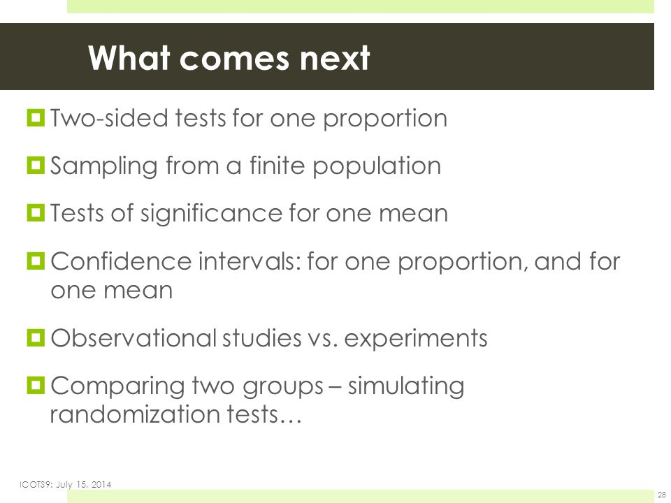 What comes next  Two-sided tests for one proportion  Sampling from a finite population  Tests of significance for one mean  Confidence intervals: for one proportion, and for one mean  Observational studies vs.