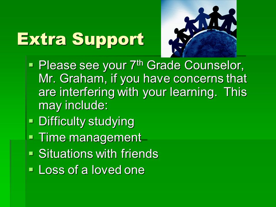 Extra Support Extra Support  Please see your 7 th Grade Counselor, Mr.