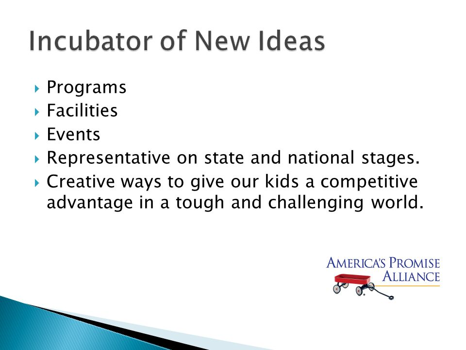  Programs  Facilities  Events  Representative on state and national stages.