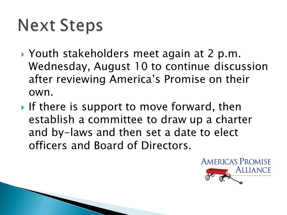  Youth stakeholders meet again at 2 p.m.