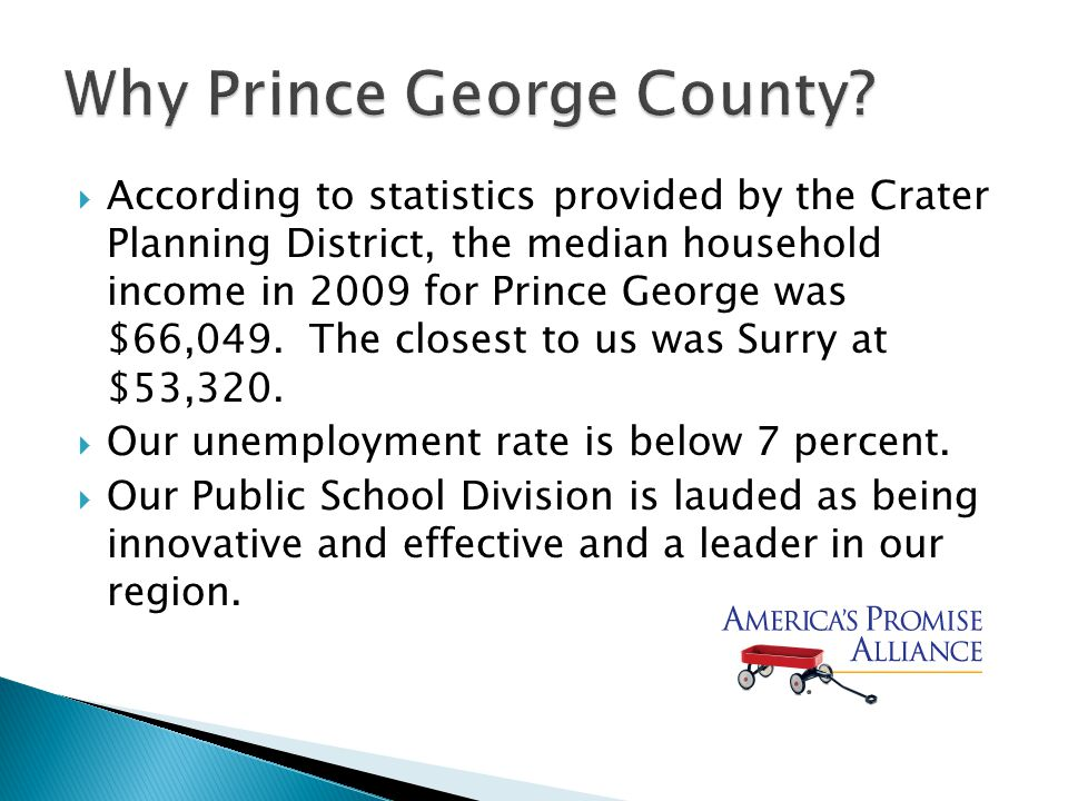  According to statistics provided by the Crater Planning District, the median household income in 2009 for Prince George was $66,049.