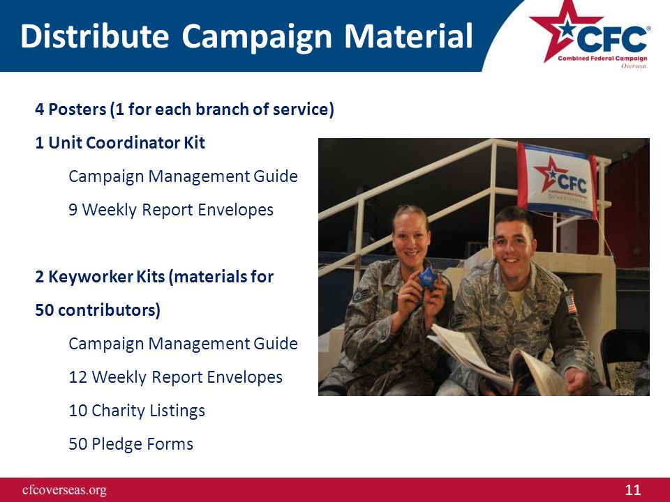 11 Distribute Campaign Material 4 Posters (1 for each branch of service) 1 Unit Coordinator Kit Campaign Management Guide 9 Weekly Report Envelopes 2
