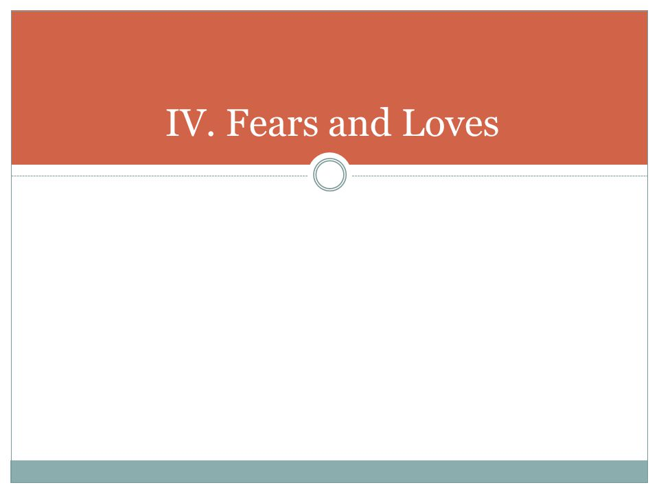 IV. Fears and Loves