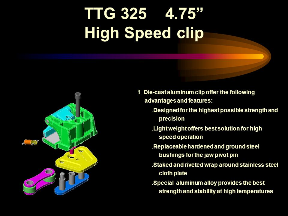 TTG 325 4.75 High Speed clip 1 Die-cast aluminum clip offer the following advantages and features:.