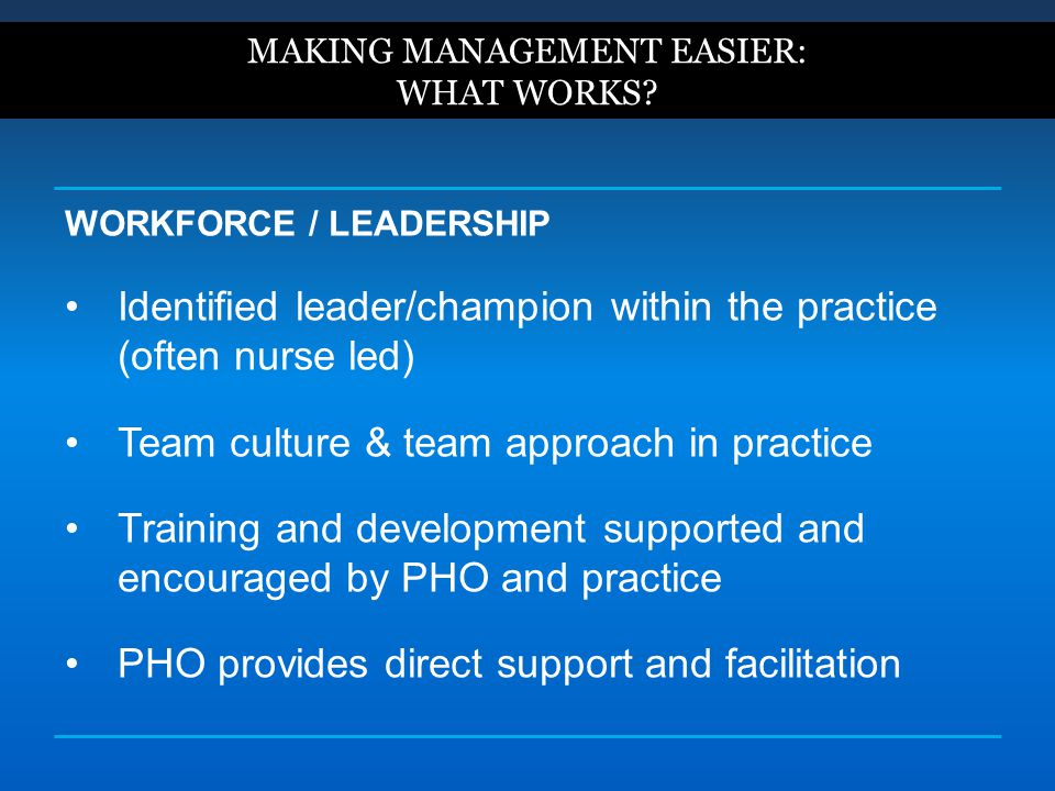 WORKFORCE / LEADERSHIP Identified leader/champion within the practice (often nurse led) Team culture & team approach in practice Training and developm