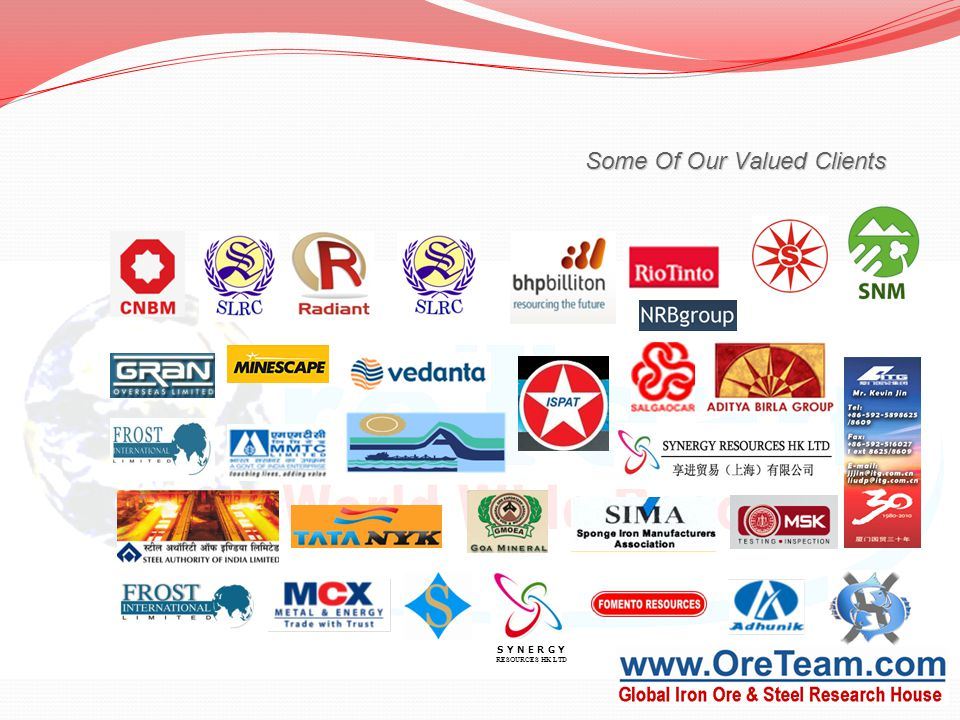Some Of Our Valued Clients S Y N E R G Y RESOURCES HK LTD
