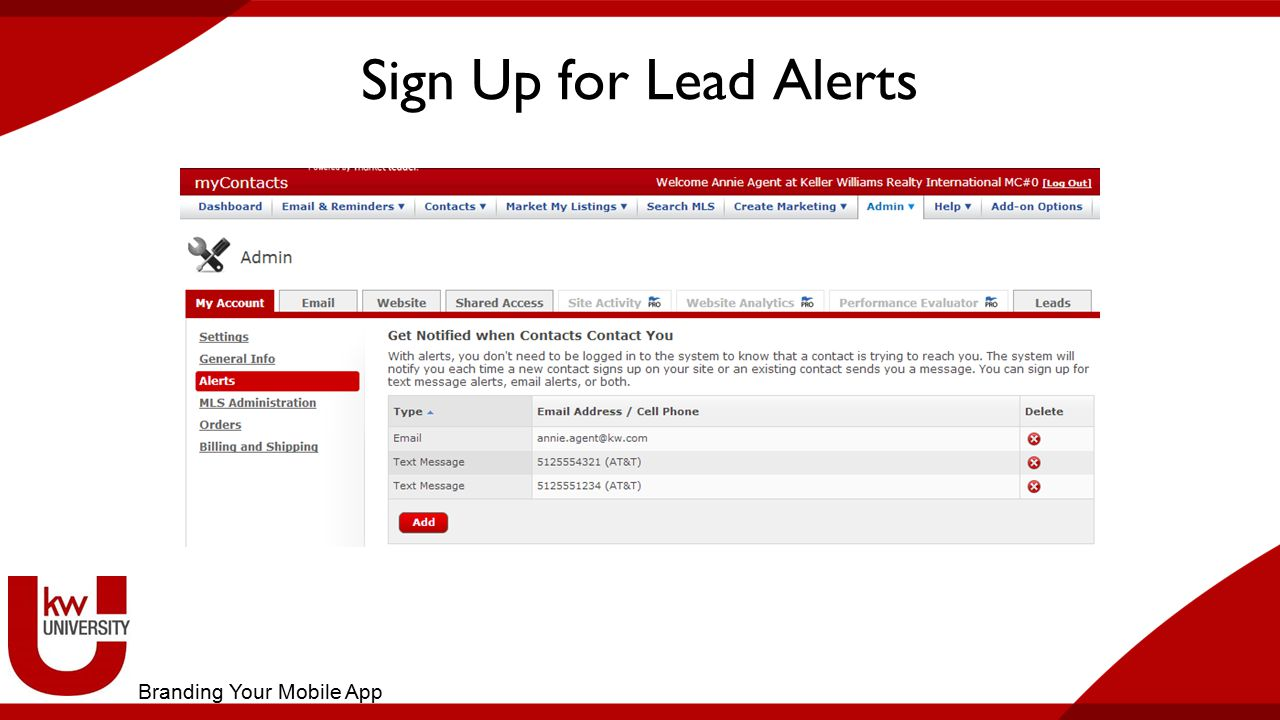 Sign Up for Lead Alerts Branding Your Mobile App