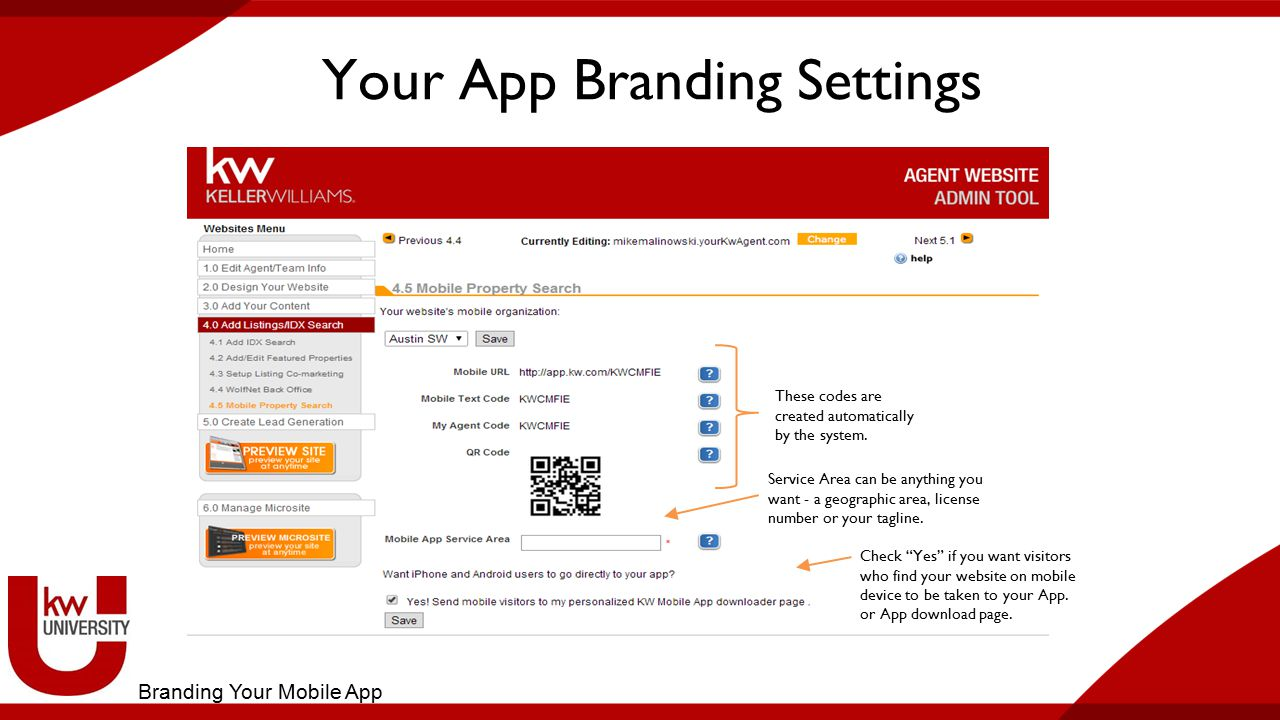 Your App Branding Settings These codes are created automatically by the system.