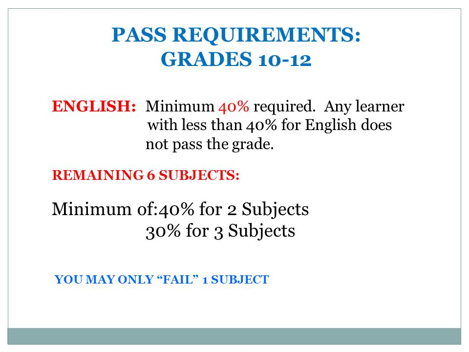 PASS REQUIREMENTS: GRADES 10-12 ENGLISH: Minimum 40% required.