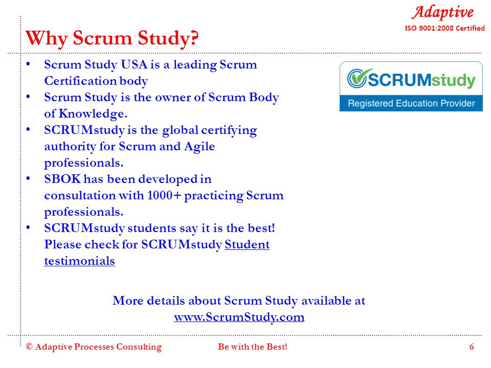 Quality Consulting Why Scrum Study.