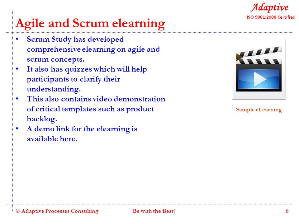 Quality Consulting Agile and Scrum elearning Scrum Study has developed comprehensive elearning on agile and scrum concepts.