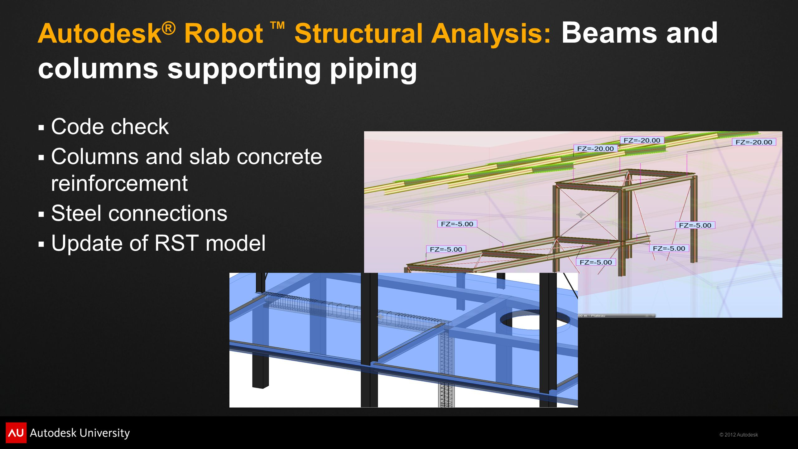 © 2012 Autodesk Autodesk ® Robot ™ Structural Analysis: Beams and columns supporting piping  Code check  Columns and slab concrete reinforcement  S