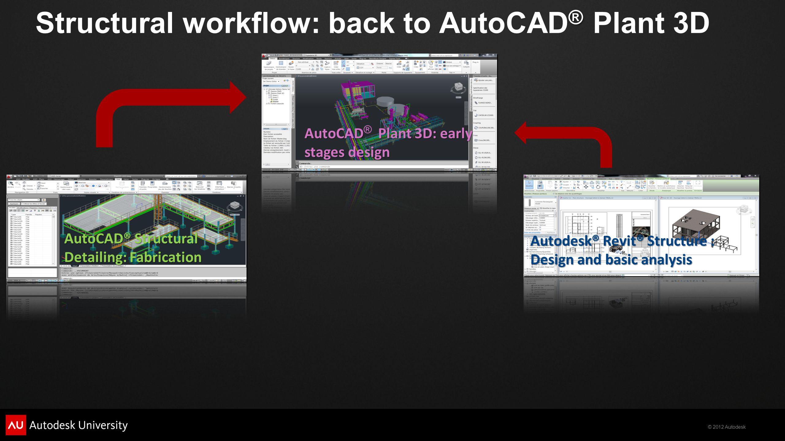 © 2012 Autodesk ® Structural workflow: back to AutoCAD ® Plant 3D Autodesk® Revit® Structure : Design and basic analysis AutoCAD® Structural Detailing