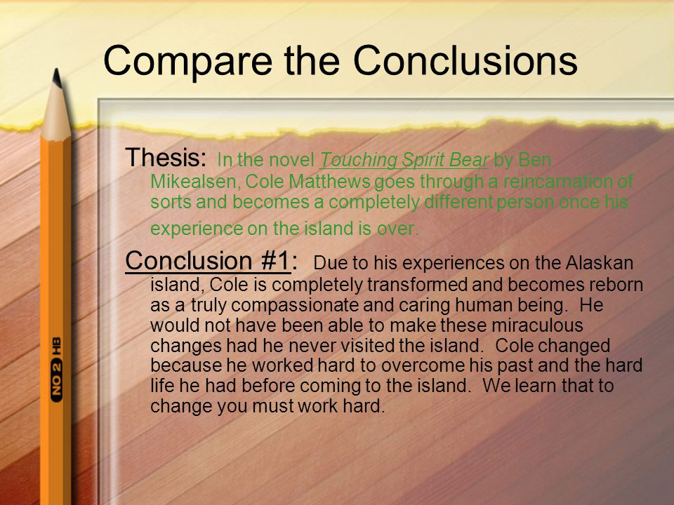 Restating the Thesis The first sentence in your conclusion should restate the thesis statement of your essay Restate means, using fresh new words, remind the reader the point/opinion of your essay If you are doing a response to literature essay, you do not need to repeat the name of the novel or the author in your restatement of the thesis Try to think of an overall universal moral or message that you can talk about to round out your conclusion