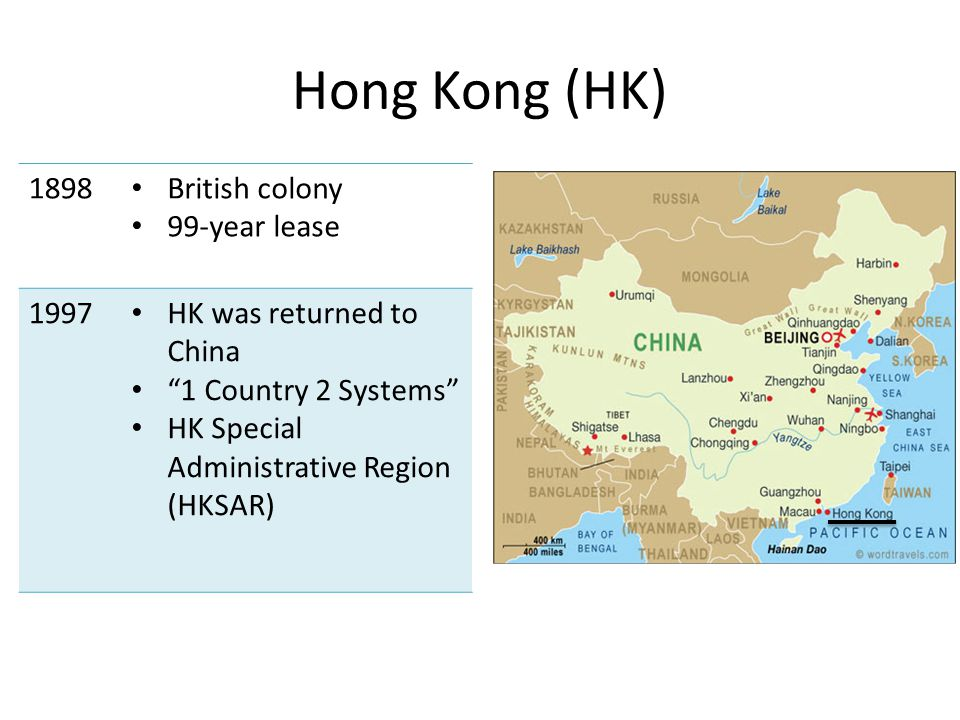 Hong Kong (HK) 1898 British colony 99-year lease 1997 HK was returned to China 1 Country 2 Systems HK Special Administrative Region (HKSAR)