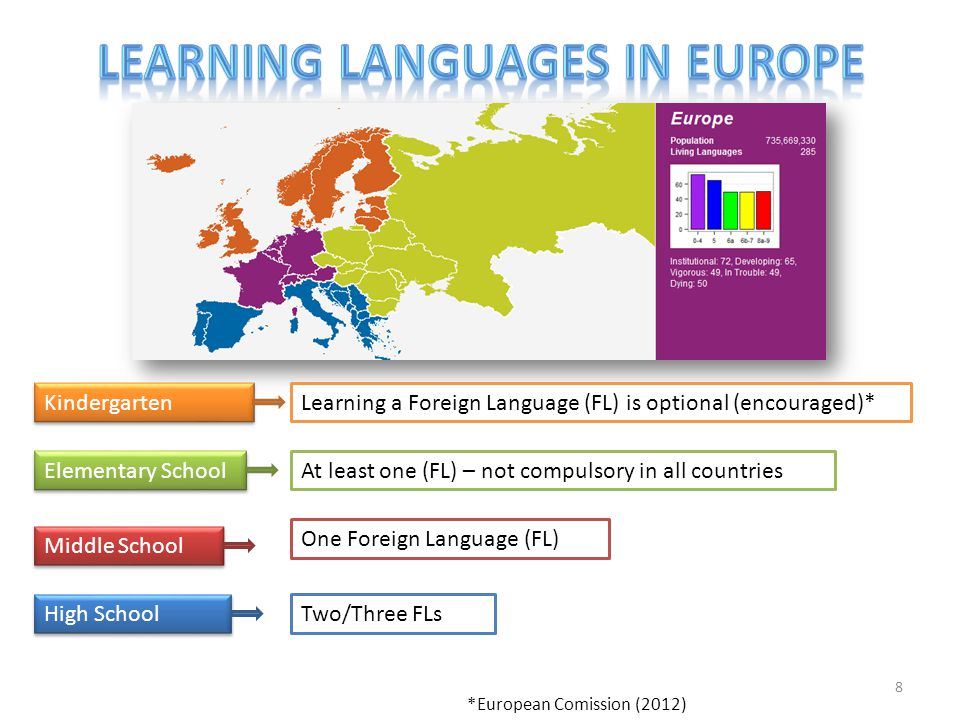 8 At least one (FL) – not compulsory in all countries One Foreign Language (FL) Learning a Foreign Language (FL) is optional (encouraged)* Two/Three FLs Kindergarten Elementary School Middle School High School *European Comission (2012)