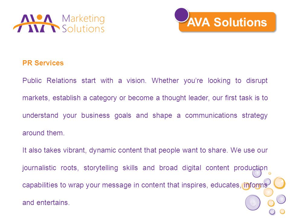 PR Services Public Relations start with a vision.