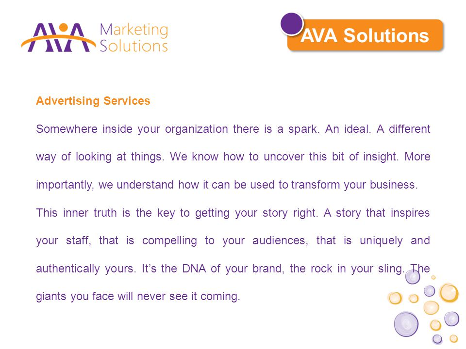 Advertising Services Somewhere inside your organization there is a spark.