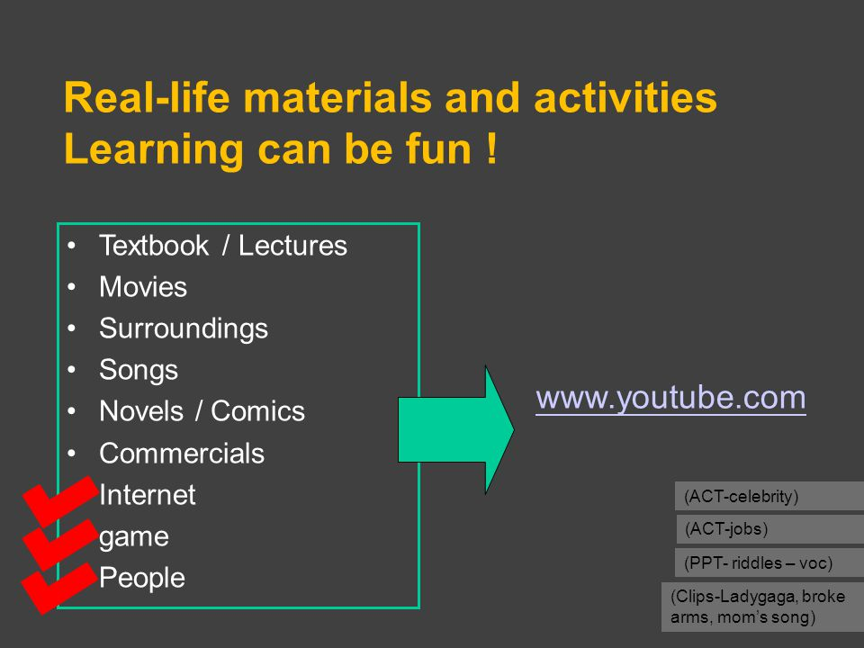 Real-life materials and activities Learning can be fun ! (ACT-celebrity) (PPT- riddles – voc) (ACT-jobs) Textbook / Lectures Movies Surroundings Songs