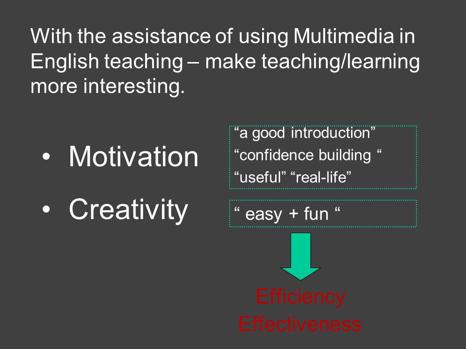 With the assistance of using Multimedia in English teaching – make teaching/learning more interesting.
