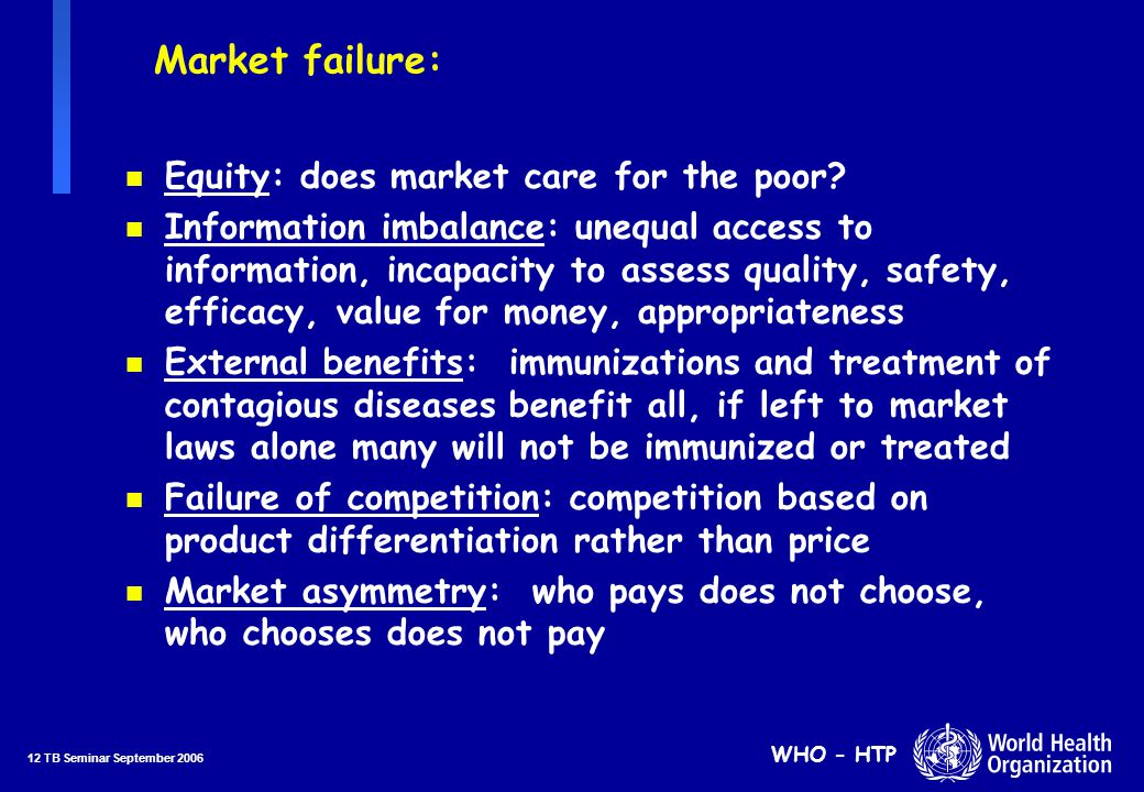 12 TB Seminar September 2006 WHO - HTP Market failure: n Equity: does market care for the poor.