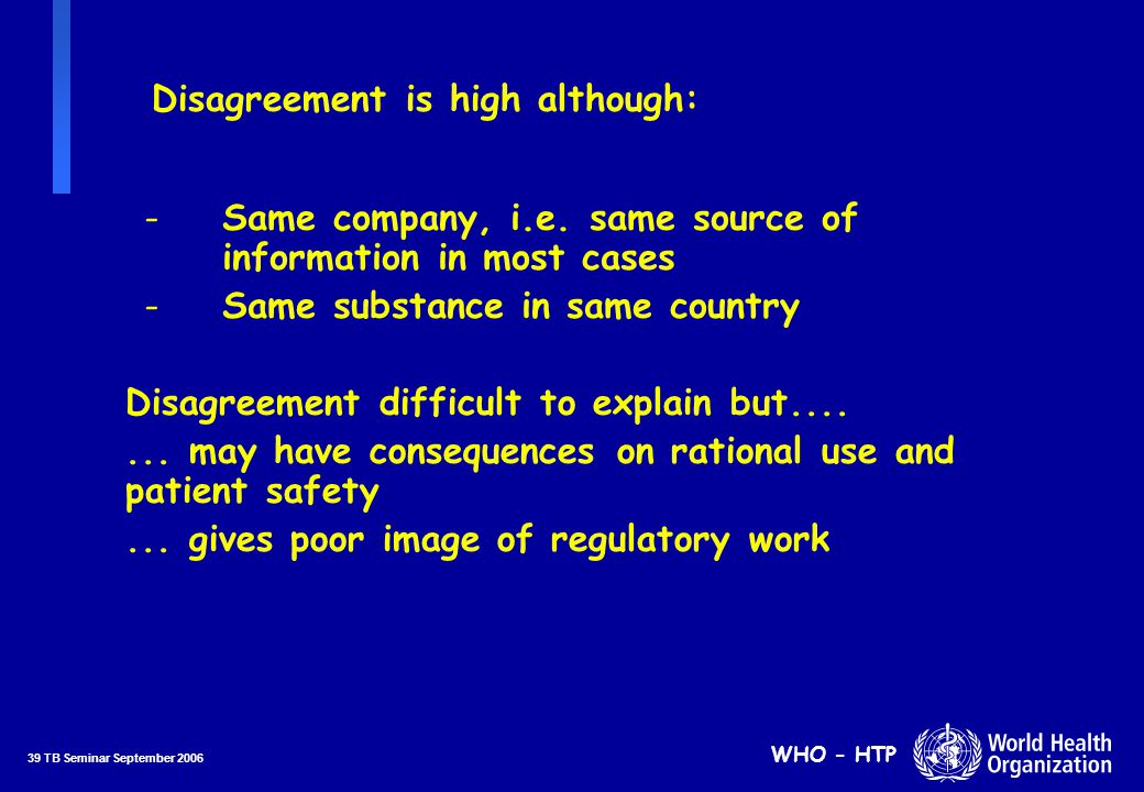 39 TB Seminar September 2006 WHO - HTP Disagreement is high although: Disagreement difficult to explain but.......