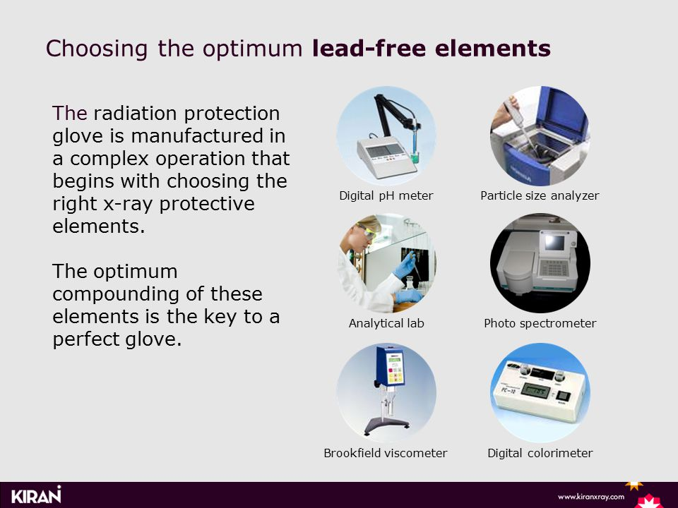 Choosing the optimum lead-free elements Digital pH meterParticle size analyzer Analytical labPhoto spectrometer The radiation protection glove is manufactured in a complex operation that begins with choosing the right x-ray protective elements.