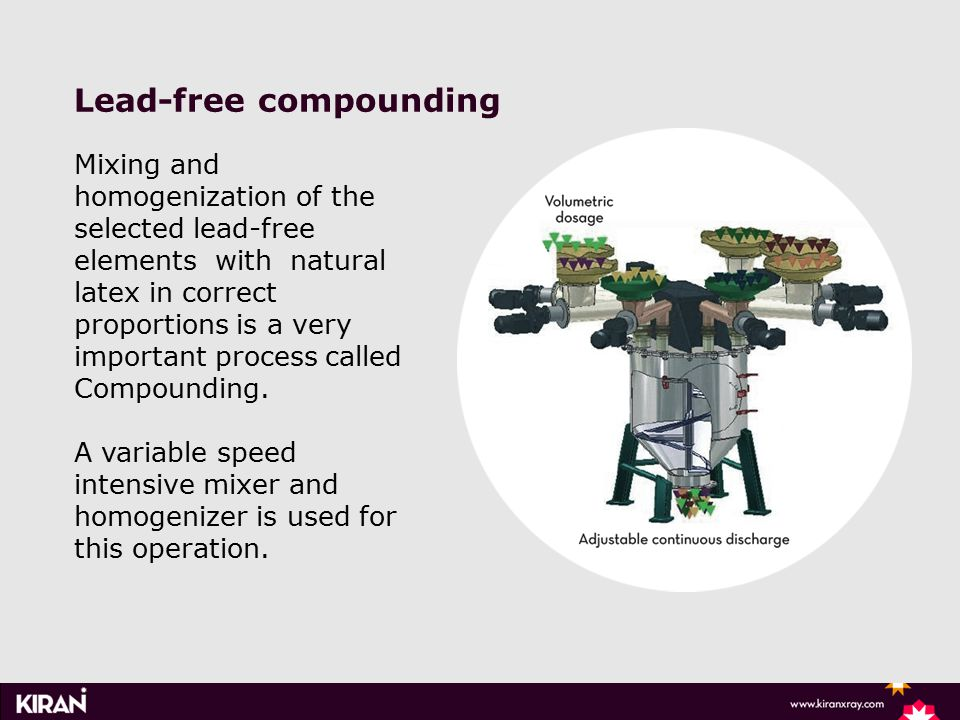 Lead-free compounding Mixing and homogenization of the selected lead-free elements with natural latex in correct proportions is a very important process called Compounding.