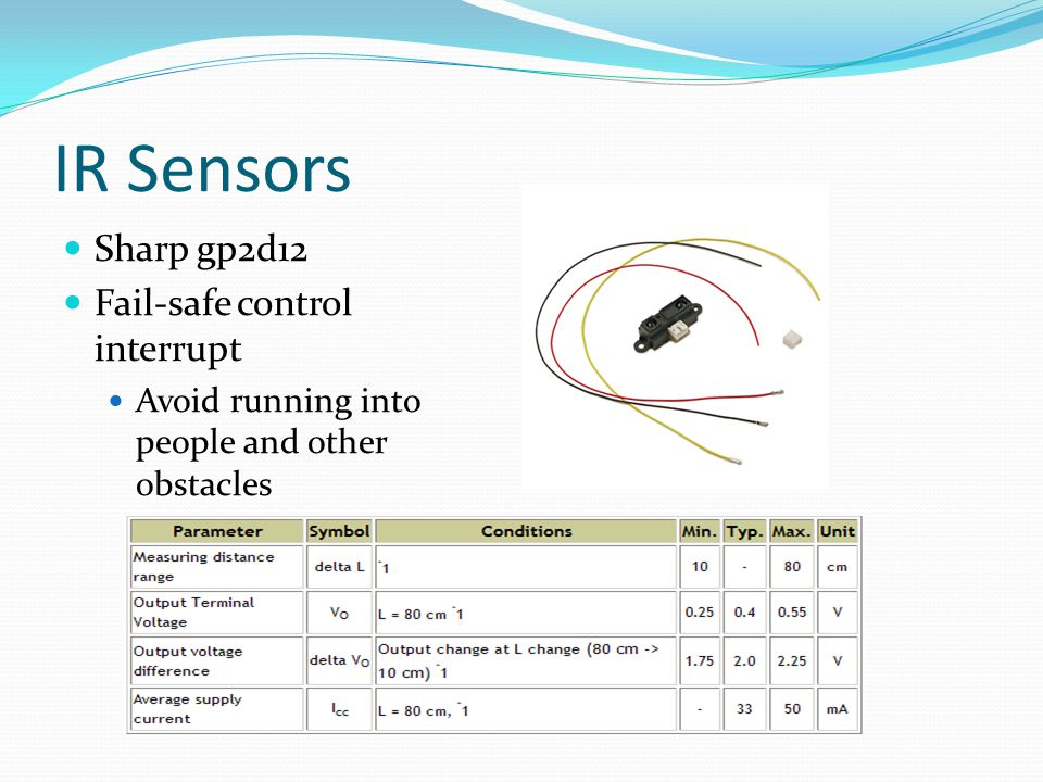 IR Sensors Sharp gp2d12 Fail-safe control interrupt Avoid running into people and other obstacles