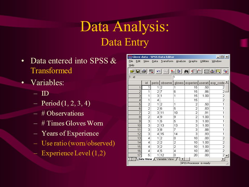Data Analysis: Data Entry Data entered into SPSS & Transformed Variables: –ID –Period (1, 2, 3, 4) –# Observations –# Times Gloves Worn –Years of Experience –Use ratio (worn/observed) –Experience Level (1,2)