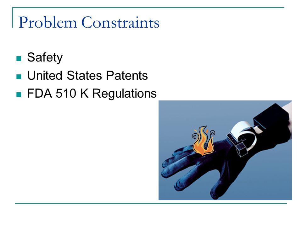 Problem Constraints Safety United States Patents FDA 510 K Regulations