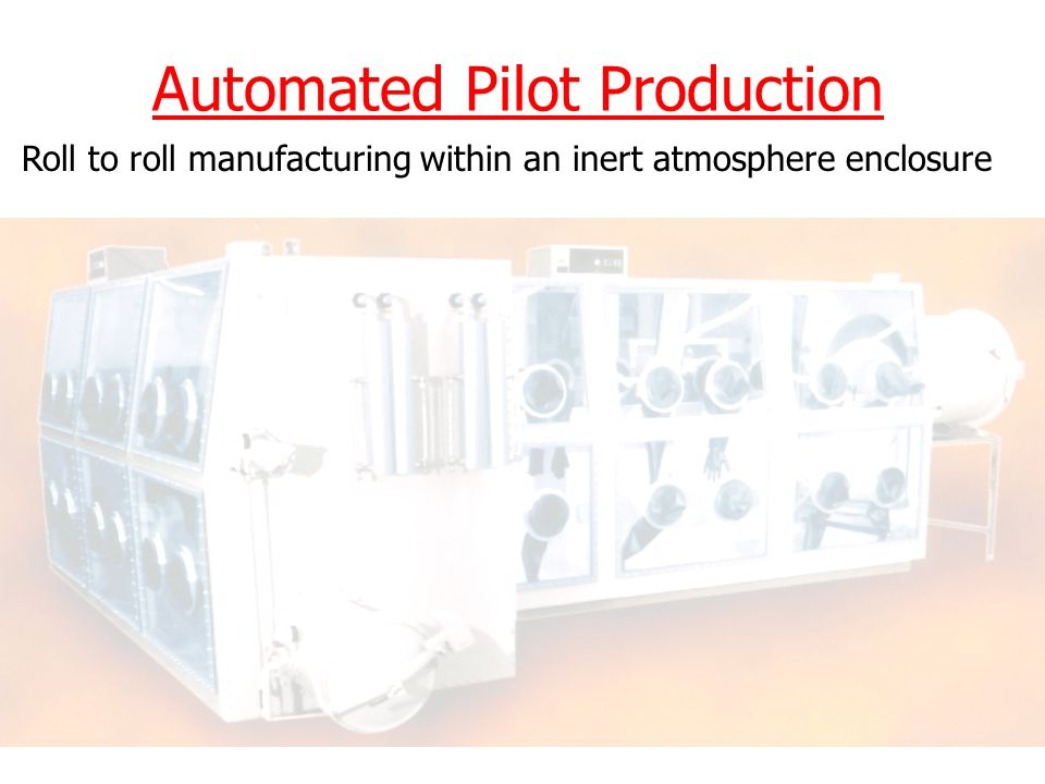 Automated Pilot Production Roll to roll manufacturing within an inert atmosphere enclosure