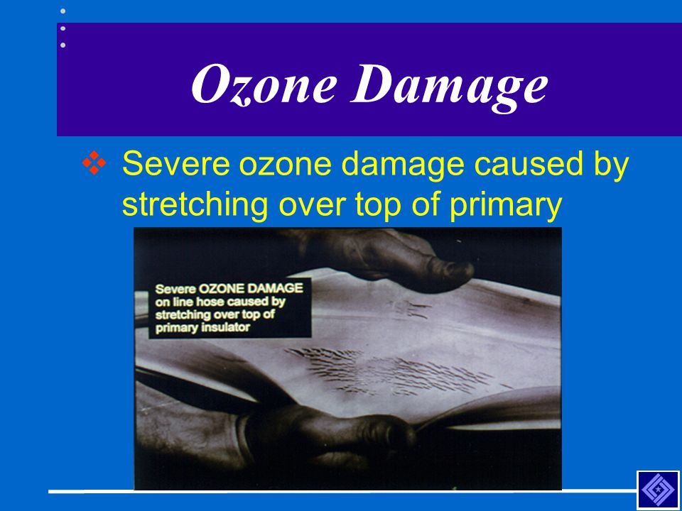 Ozone Damage  Severe ozone damage caused by stretching over top of primary