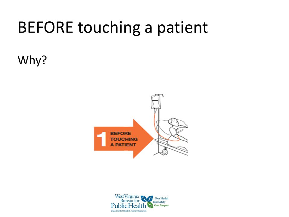 BEFORE touching a patient Why?