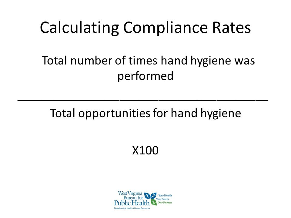 Calculating Compliance Rates Total number of times hand hygiene was performed _______________________________________ Total opportunities for hand hyg