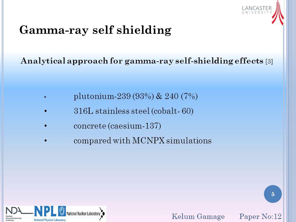 6 Gamma-ray self shielding (cont.) Kelum Gamage Paper No:12