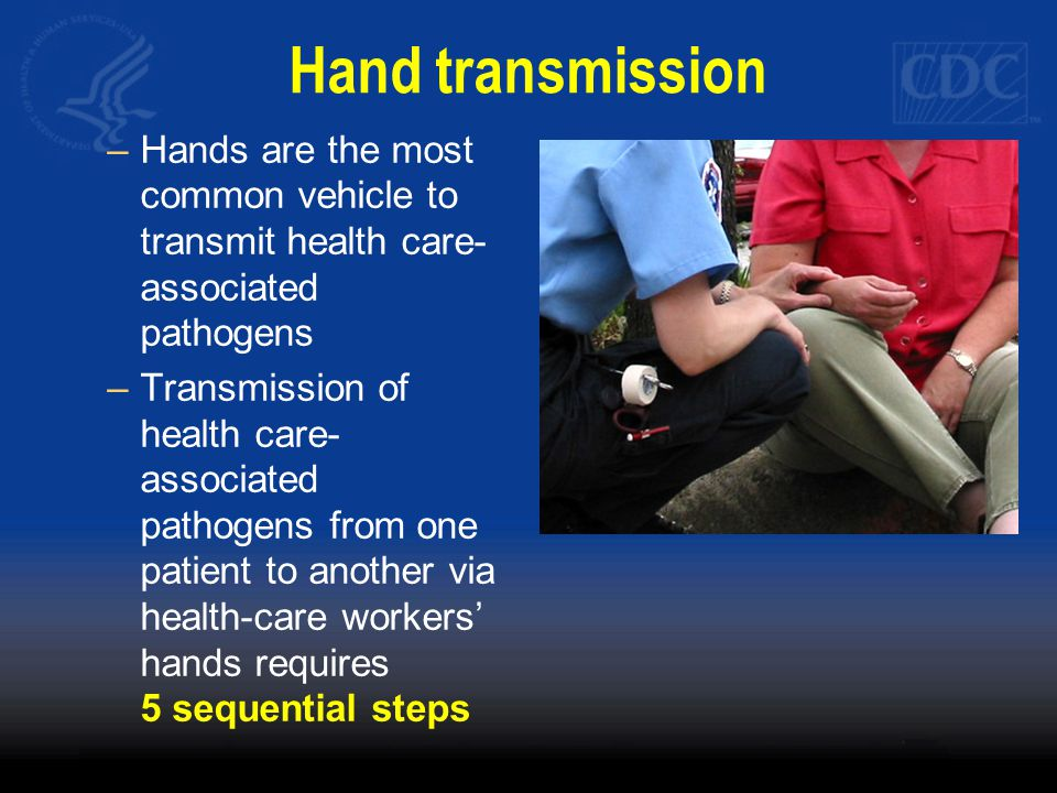 Hand transmission –Hands are the most common vehicle to transmit health care- associated pathogens –Transmission of health care- associated pathogens from one patient to another via health-care workers' hands requires 5 sequential steps