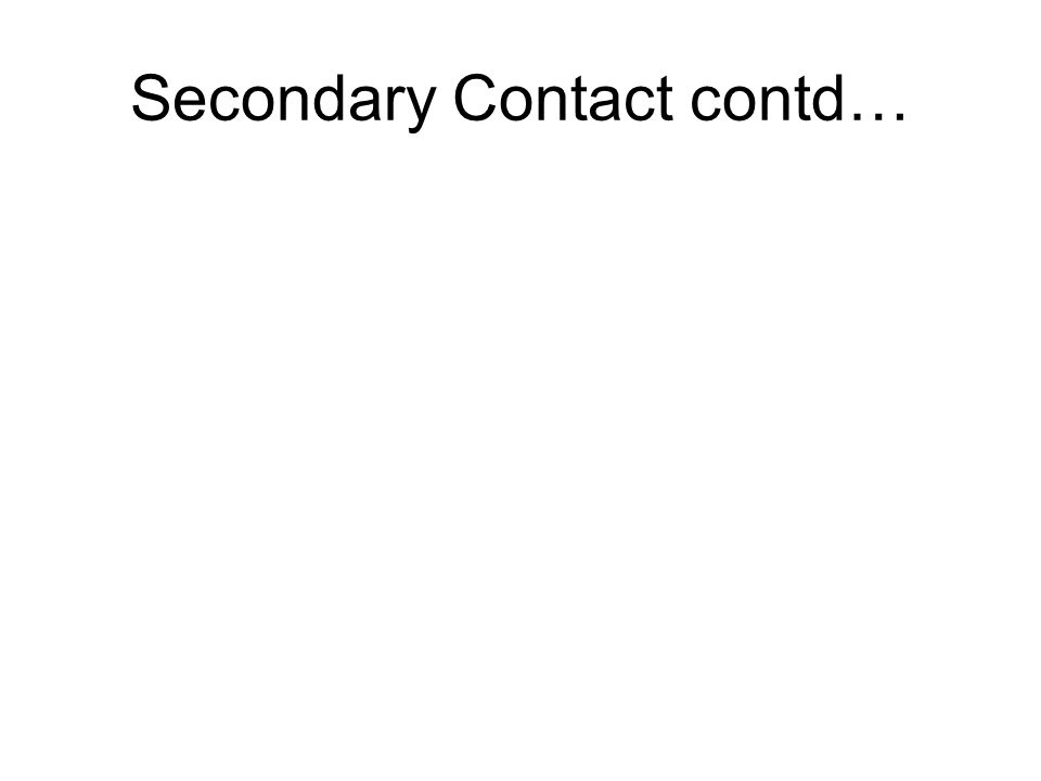 Secondary Contact contd…