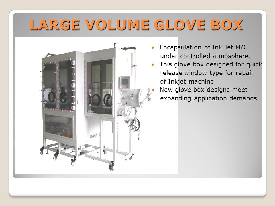 LARGE VOLUME GLOVE BOX Encapsulation of Ink Jet M/C under controlled atmosphere.