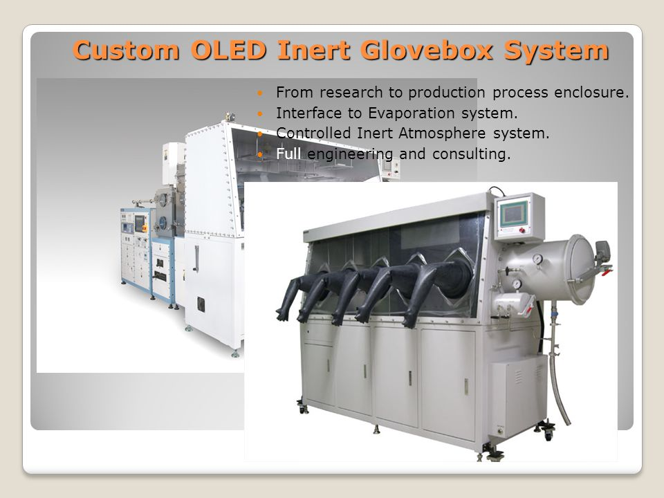 Custom OLED Inert Glovebox System From research to production process enclosure.