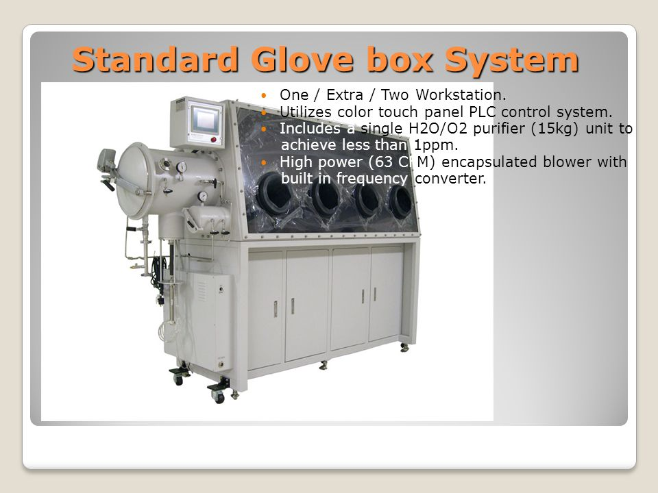 Standard Glove box System One / Extra / Two Workstation.