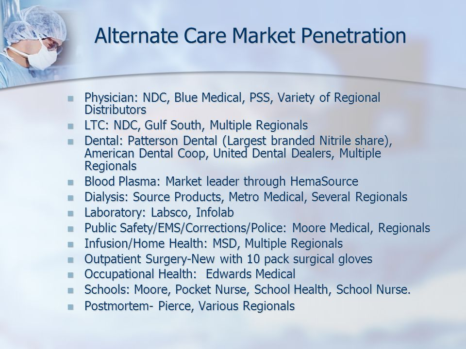 Alternate Care Market Penetration Physician: NDC, Blue Medical, PSS, Variety of Regional Distributors Physician: NDC, Blue Medical, PSS, Variety of Regional Distributors LTC: NDC, Gulf South, Multiple Regionals LTC: NDC, Gulf South, Multiple Regionals Dental: Patterson Dental (Largest branded Nitrile share), American Dental Coop, United Dental Dealers, Multiple Regionals Dental: Patterson Dental (Largest branded Nitrile share), American Dental Coop, United Dental Dealers, Multiple Regionals Blood Plasma: Market leader through HemaSource Blood Plasma: Market leader through HemaSource Dialysis: Source Products, Metro Medical, Several Regionals Dialysis: Source Products, Metro Medical, Several Regionals Laboratory: Labsco, Infolab Laboratory: Labsco, Infolab Public Safety/EMS/Corrections/Police: Moore Medical, Regionals Public Safety/EMS/Corrections/Police: Moore Medical, Regionals Infusion/Home Health: MSD, Multiple Regionals Infusion/Home Health: MSD, Multiple Regionals Outpatient Surgery-New with 10 pack surgical gloves Outpatient Surgery-New with 10 pack surgical gloves Occupational Health: Edwards Medical Occupational Health: Edwards Medical Schools: Moore, Pocket Nurse, School Health, School Nurse.