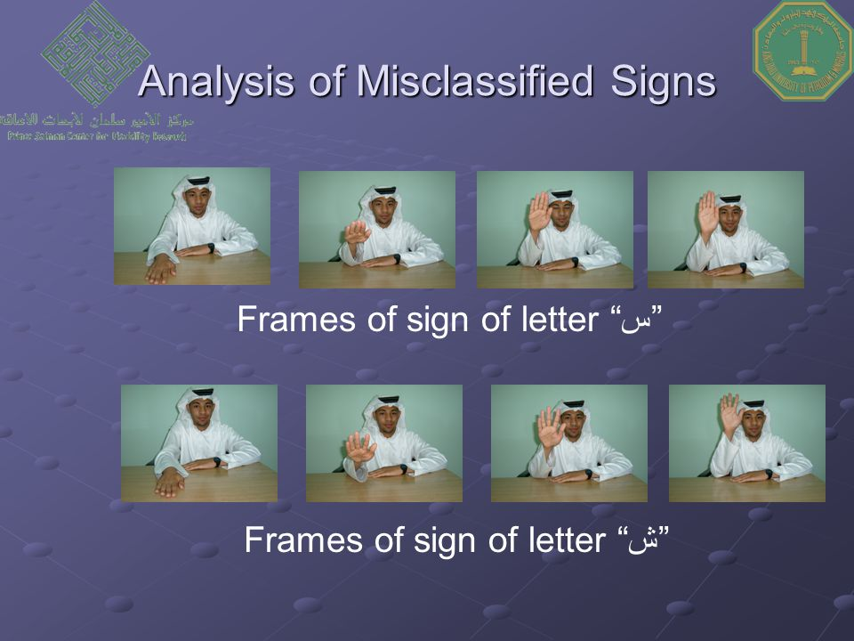 """Analysis of Misclassified Signs Frames of sign of letter """"س"""" Frames of sign of letter """"ش"""""""