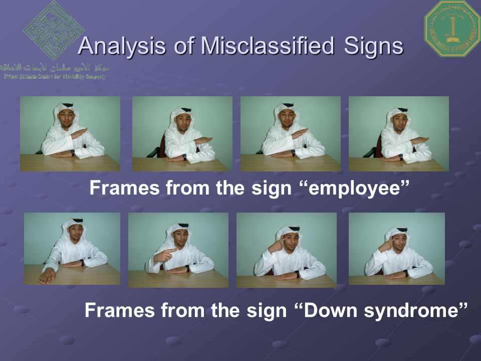 Analysis of Misclassified Signs Frames from the sign employee Frames from the sign Down syndrome