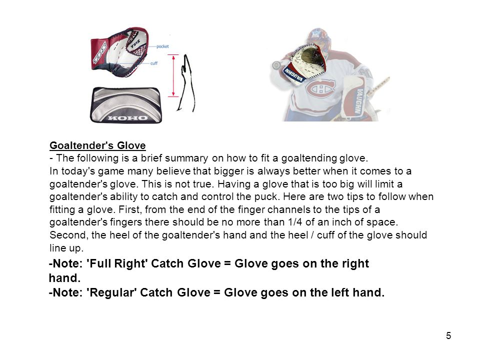 5 Goaltender s Glove - The following is a brief summary on how to fit a goaltending glove.