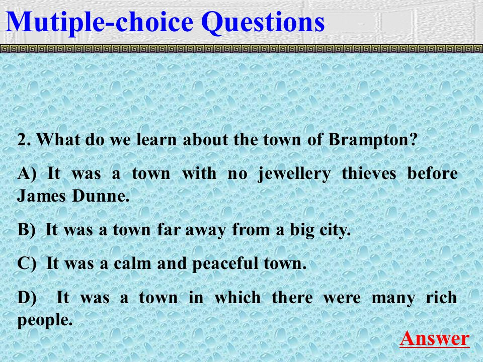 2. What do we learn about the town of Brampton.