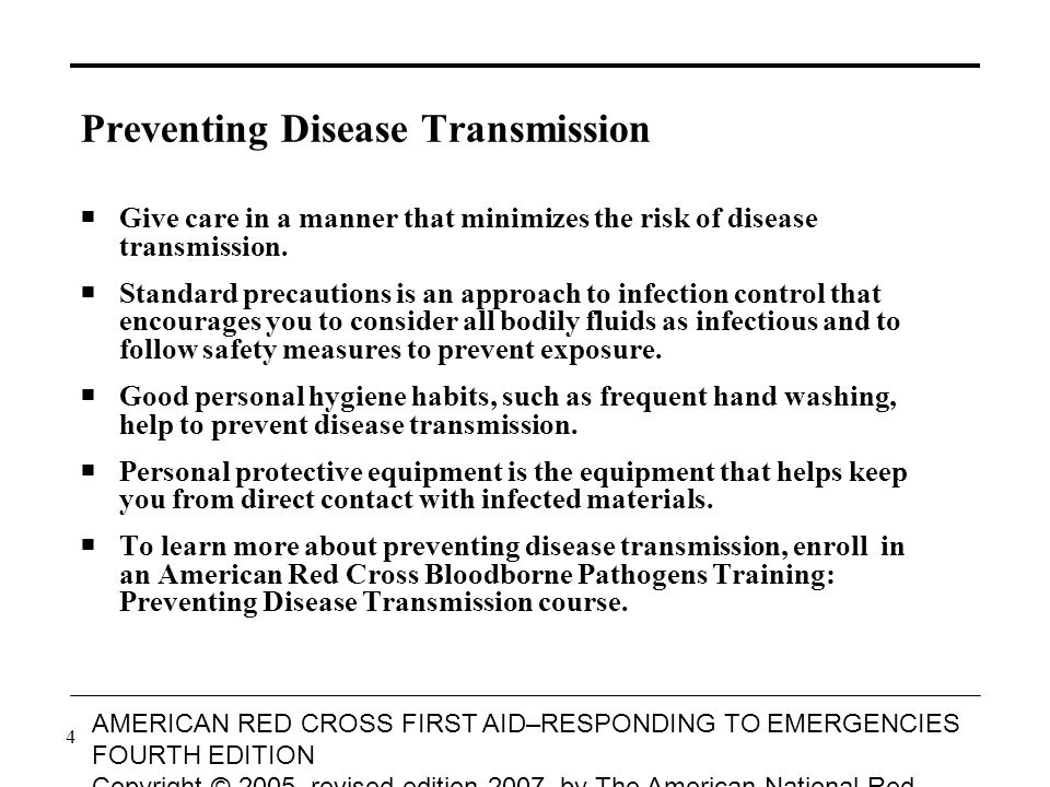 4 AMERICAN RED CROSS FIRST AID–RESPONDING TO EMERGENCIES FOURTH EDITION Copyright © 2005, revised edition 2007, by The American National Red Cross All