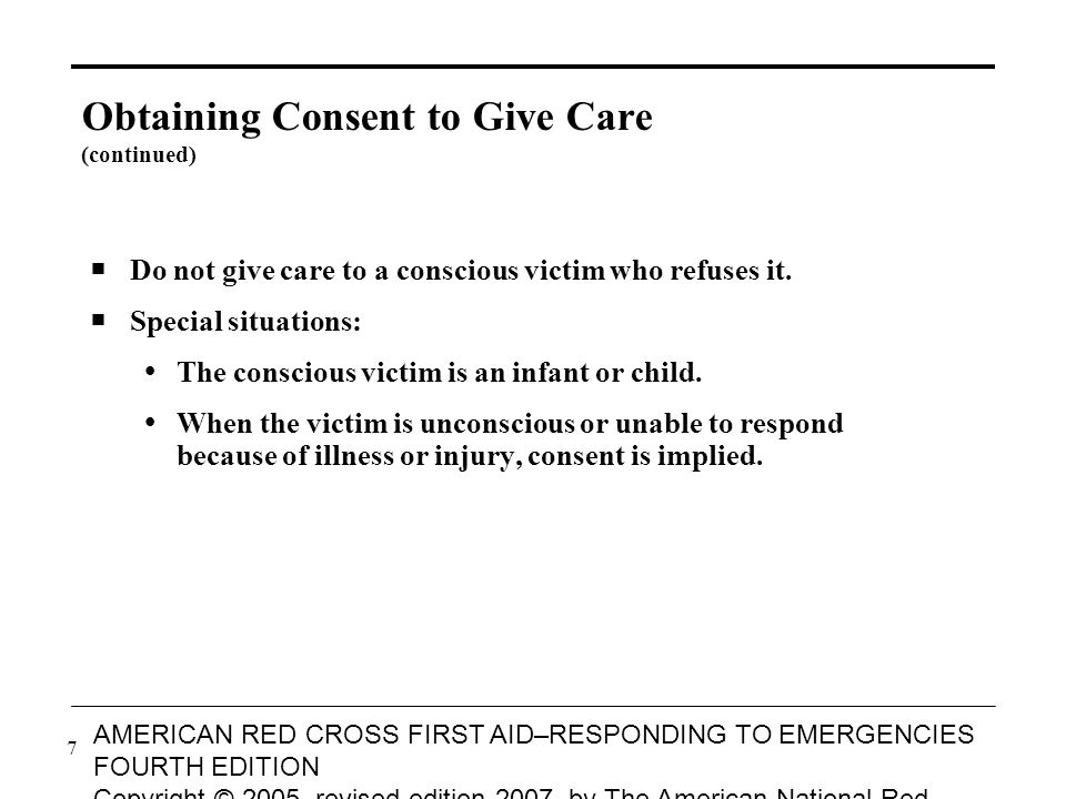 8 AMERICAN RED CROSS FIRST AID–RESPONDING TO EMERGENCIES FOURTH EDITION Copyright © 2005, revised edition 2007, by The American National Red Cross All rights reserved.