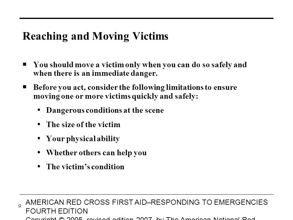 10 AMERICAN RED CROSS FIRST AID–RESPONDING TO EMERGENCIES FOURTH EDITION Copyright © 2005, revised edition 2007, by The American National Red Cross All rights reserved.